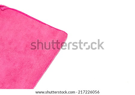 pink microfiber duster isolated on white - stock photo