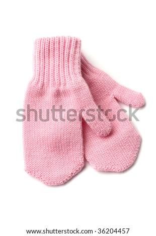 pink mittens - stock photo
