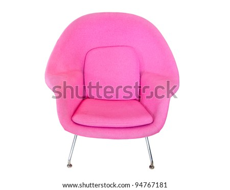 pink modern chair isolated on white background - stock photo