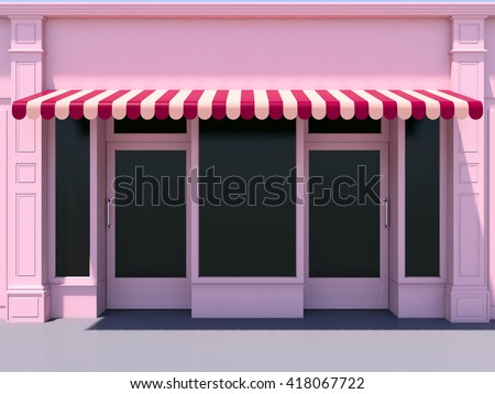 Pink modern shopfront in the sun - 3d render classic store front with red awnings - stock photo