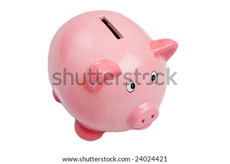 Pink money box a over white background - stock photo