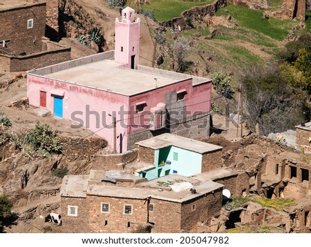 Pink Mosque in a Moroccan village in the Atlas Mountains