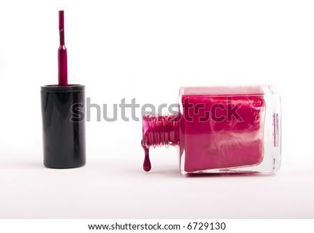 pink nail polish - stock photo