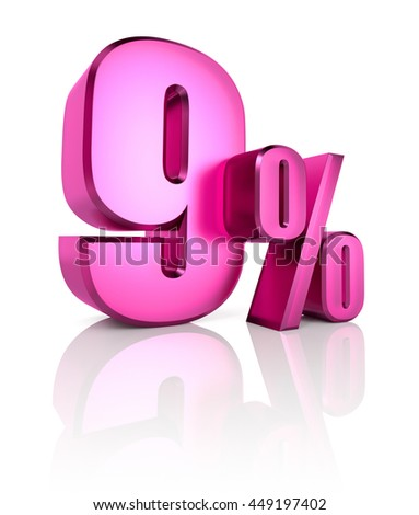 Pink nine percent sign isolated on white background. 3d rendering - stock photo