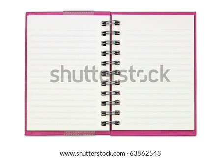 Pink Notebook isolated. - stock photo