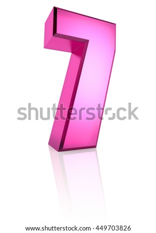 Pink number 7 isolated on white background. 3d rendering - stock photo