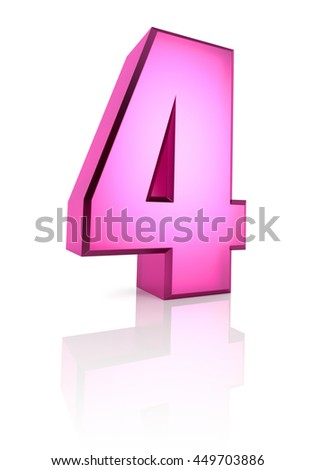 Pink number 4 isolated on white background. 3d rendering - stock photo