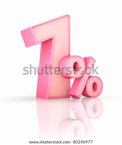 Pink one percent, isolated on white background. 1%