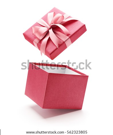 Pink open gift box isolated on pink open gift box isolated on 562323805 shutterstock negle Images