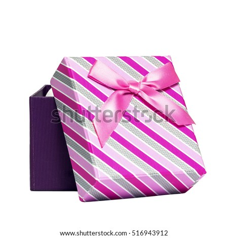 Pink open gift box with bow isolated on white background