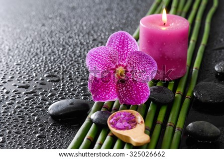 pink orchid and bamboo grove,salt in spoon,stone, on wet black background  - stock photo