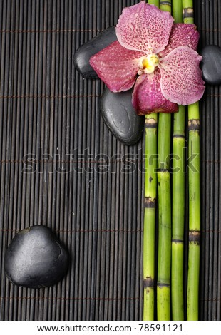 pink orchid with thin grove and stones on mat - stock photo