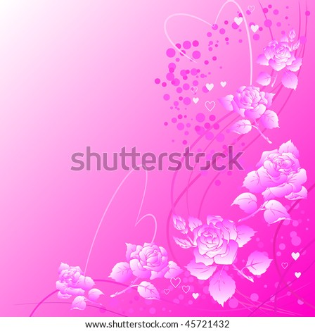 Pink ornate background with roses and heart shapes. Raster version of vector.