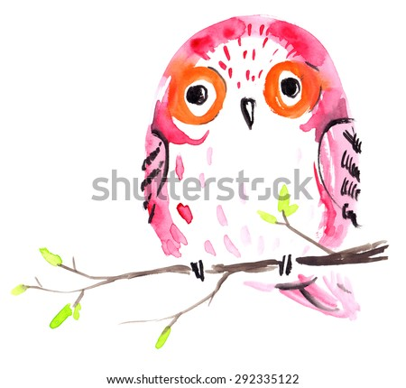 Pink owl on a branch in watercolor on white isolated background - stock photo