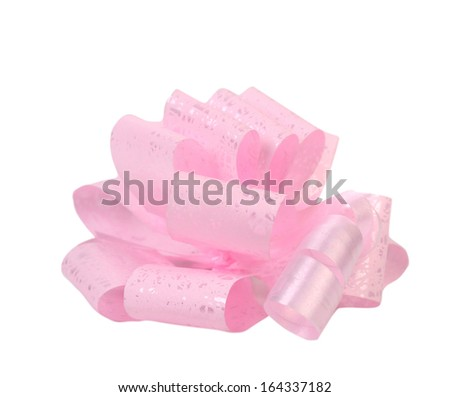 Pink packaging band. Isolated on a white background. - stock photo