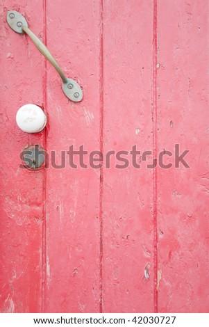 Pink painted door - stock photo