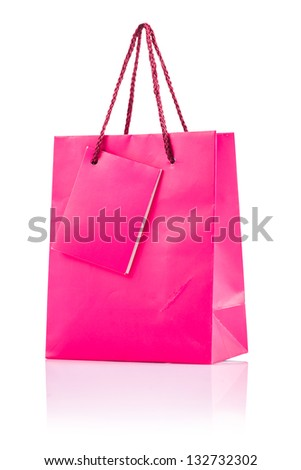 pink paper bag isolated