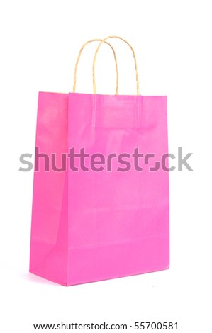 Pink paper bag ready for shopping, isolated on white background
