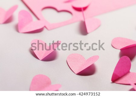 Pink paper hearts - macro photo - stock photo