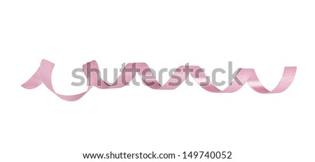 Pink paper horizontal ribbon on the white isolated background