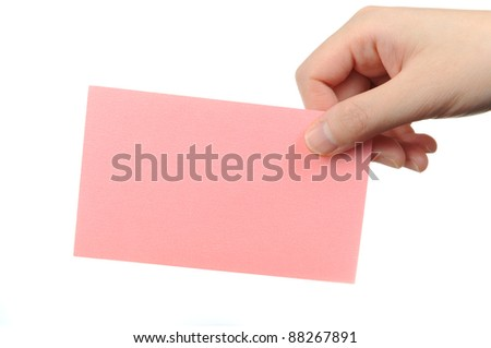 Pink paper in hand isolated