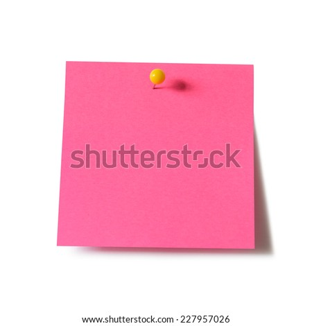 Pink paper note pad attached with push pin on white background - stock photo