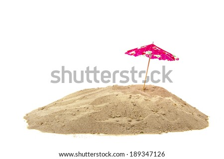 Pink parasol at the beach isolated over white background - stock photo