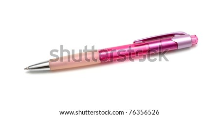 Pink pen isolated on white background - stock photo