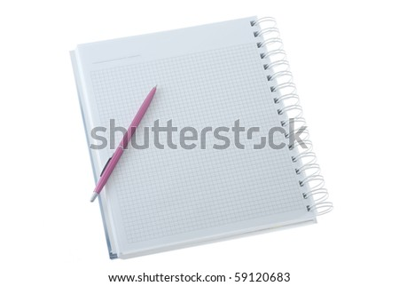 Pink pen on the notebook isolated on white - stock photo