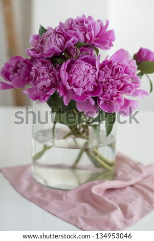 Pink peonies in a vase - stock photo