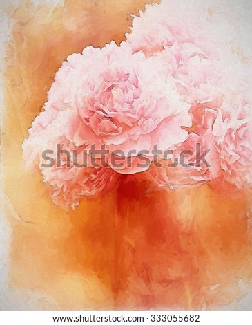 Pink peony bouquet transformed into a blush toned digital painting - stock photo