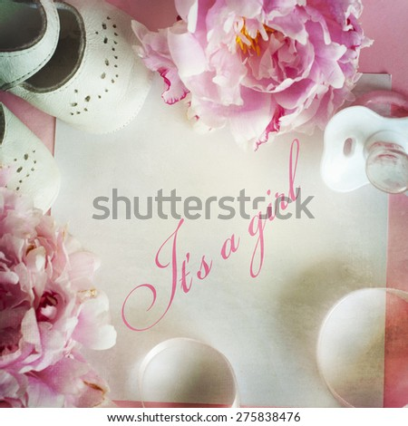 pink peony flowers with card