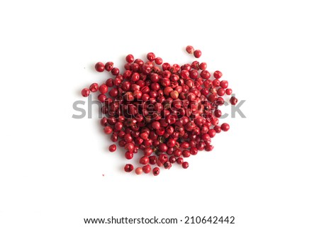 pink pepper isolated on white background. - stock photo