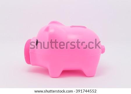 Pink Pig piggy bank - stock photo