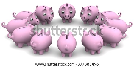 Pink pig piggy bank located in a circle on a white surface. Financial concept. 3D illustration. Isolated - stock photo