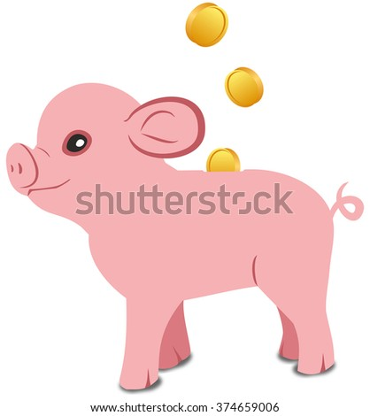 Pink pig piggy bank on a white background - stock photo