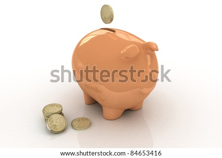 Pink Piggy bank - stock photo