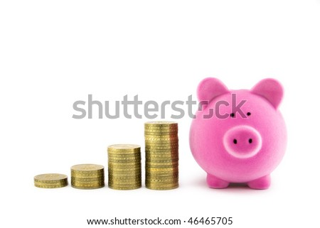 Pink piggy bank and coins - stock photo
