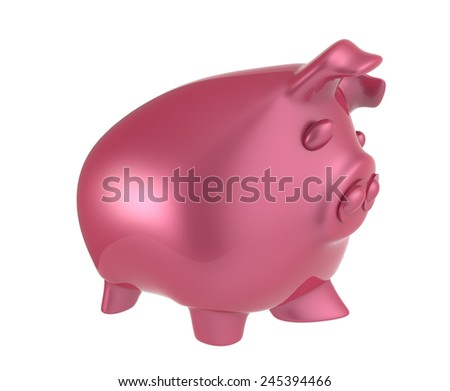 pink piggy bank 3d render  - stock photo