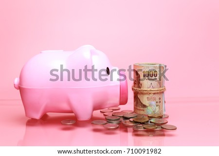 Pink piggy bank For the preserve