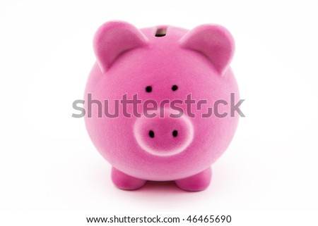 Pink piggy bank isolated on white - stock photo