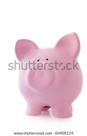 Pink piggy bank, isolated on white background. - stock photo