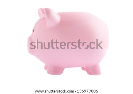 pink piggy bank isolated on white background, side view - stock photo