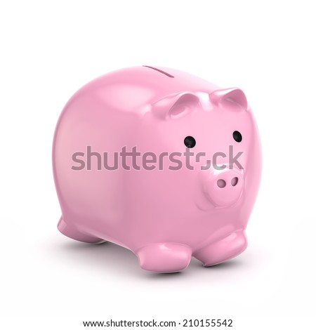 pink piggy bank isolated white background with clipping path