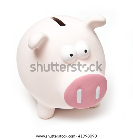 Pink piggy bank money box isolated on a white studio background. - stock photo