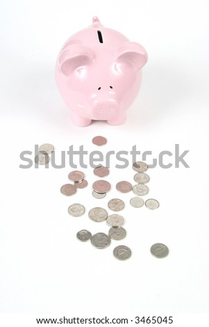 Pink Piggy Bank on isoalted on white background - stock photo