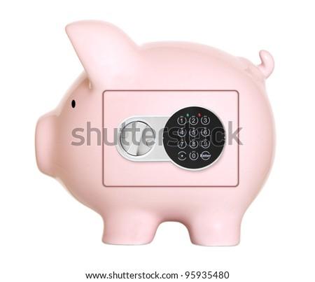 Pink piggy bank safe - stock photo
