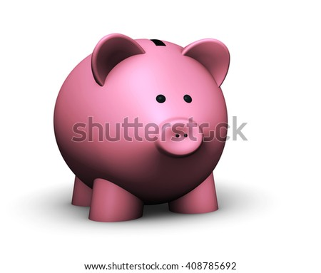 Pink piggy bank savings concept 3D illustration on white background.