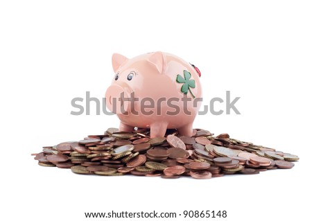 Pink Piggy Bank Standing On Coins Isolated On White - stock photo