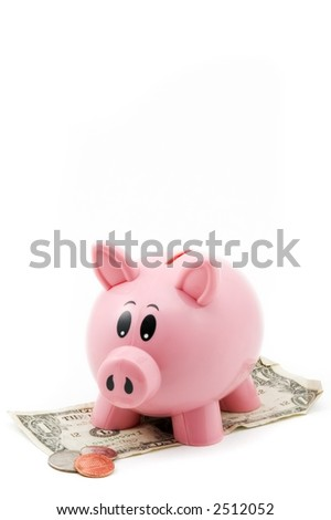 Pink Piggy Bank standing on dollar bill looks down at change - isolated on white